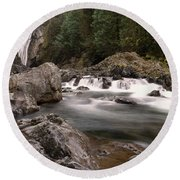 Round Beach Towel featuring the photograph Lower Twin Falls by Jeff Swan