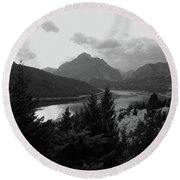 Lower Two Medicine Lake In Black And White Round Beach Towel