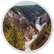 Lower Yellowstone Canyon Falls 5 - Yellowstone National Park Wyoming Round Beach Towel by Brian Harig