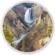 Lower Yellowstone Falls From Artist Point Round Beach Towel