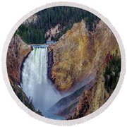 Round Beach Towel featuring the photograph Lower Yellowstone Falls II by Bill Gallagher