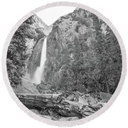 Lower Yosemite Falls In Black And White By Michael Tidwell Round Beach Towel