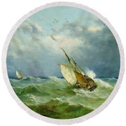 Lowestoft Trawler In Rough Weather Round Beach Towel by John Moore