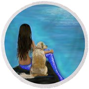 Round Beach Towel featuring the painting Loyal Loving Buddy by Leslie Allen