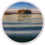 Round Beach Towel featuring the photograph Lubec Harbor by Rick Berk