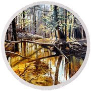 Round Beach Towel featuring the painting  Lubianka-2-river by Henryk Gorecki