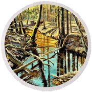 Lubianka-3-river Round Beach Towel