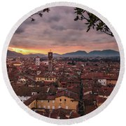 Lucca In Tuscany Round Beach Towel