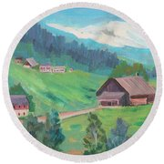 Round Beach Towel featuring the painting Lucerne Countryside by Diane McClary