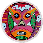 Round Beach Towel featuring the painting Lucha Libre by Pristine Cartera Turkus