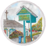 Lucia Lodge In Lucia, California Round Beach Towel