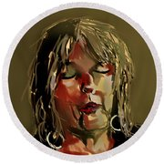 Lucinda Williams  Round Beach Towel by Jim Vance