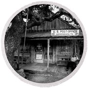 Round Beach Towel featuring the photograph Luckenbach Texas by David Morefield