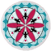 Lucky Crickets Floral Graphic Round Beach Towel