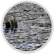 Round Beach Towel featuring the photograph Lucky Stump by Angie Rea