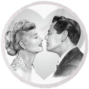 Lucy And Desi Round Beach Towel