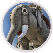 Lucy Elephant In Margate Round Beach Towel