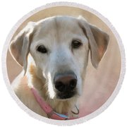 Lucy In Pink Round Beach Towel