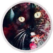 Lucy The Cat Round Beach Towel