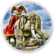 Lucy The Elephant 2 Round Beach Towel