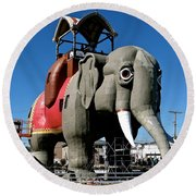 Lucy The Elephant Round Beach Towel