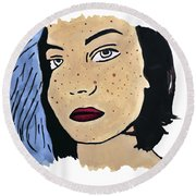 Lucy's Self Portrait Round Beach Towel