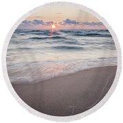 Ludington Beach Sunset Round Beach Towel