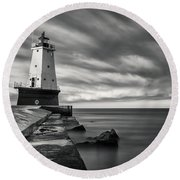 Round Beach Towel featuring the photograph Ludington Light Black And White by Adam Romanowicz