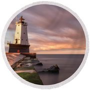 Round Beach Towel featuring the photograph Ludington Light Sunrise Long Exposure by Adam Romanowicz