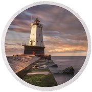 Round Beach Towel featuring the photograph Ludington North Breakwater Light At Dawn by Adam Romanowicz