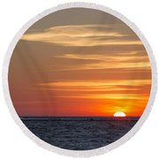 Round Beach Towel featuring the photograph Ludington North Breakwater Light At Sunset by Adam Romanowicz