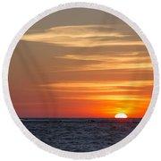 Ludington North Breakwater Light At Sunset Round Beach Towel