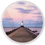 Round Beach Towel featuring the photograph Ludington North Breakwater Light Sunrise by Adam Romanowicz