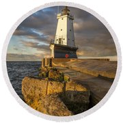 Round Beach Towel featuring the photograph Ludington North Breakwater Lighthouse At Sunrise by Adam Romanowicz