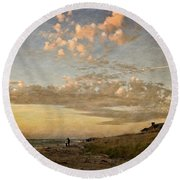 Round Beach Towel featuring the photograph Ludington State Park Beach House At Sunset by Michelle Calkins