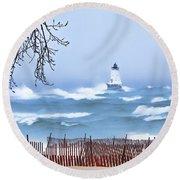 Ludington Winter Shore  Round Beach Towel