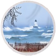 Ludington Winter Shore  Round Beach Towel