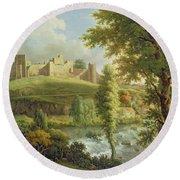 Ludlow Castle With Dinham Weir Round Beach Towel by Samuel Scott