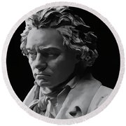 Round Beach Towel featuring the mixed media Ludwig Van Beethoven by Daniel Hagerman