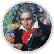 Ludwig Van Beethoven Round Beach Towel by Richard Day