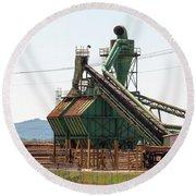 Lumber Mill Sawdust Machinery Round Beach Towel