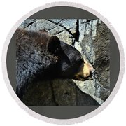Lumbering Bear Round Beach Towel