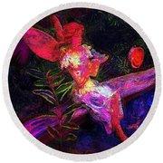 Round Beach Towel featuring the photograph Luminescent Night Fairy by Lori Seaman