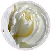 Luminous Ivory Rose Round Beach Towel