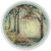 Round Beach Towel featuring the painting Luminous Landscape by Mary Wolf