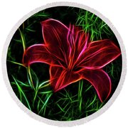 Luminous Lily Round Beach Towel