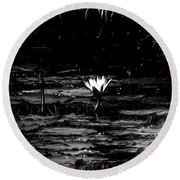 Luminous Water Lily  Round Beach Towel