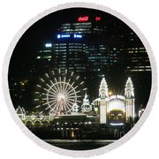 Luna Park Round Beach Towel by Leanne Seymour