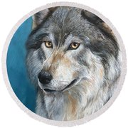 Round Beach Towel featuring the painting Luna by Sherry Shipley