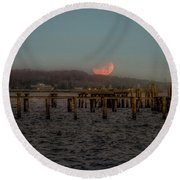 Round Beach Towel featuring the photograph Lunar Eclispe  by Norman Peay